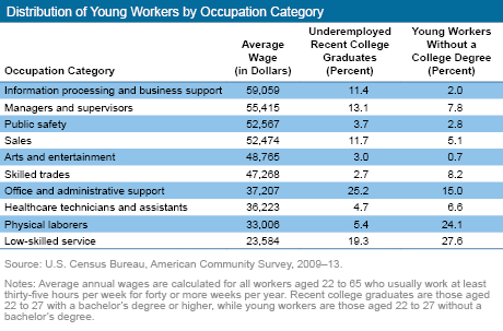 Distribution of Young Workers by Occupation Category