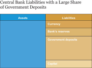 Central Bank Liabilities with a Large Share of Government Deposits